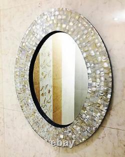 Miroir Ovale Décoratif De Mur Biseauté Avec Le Décor Blanc De Cadre D'incrustation De Nacre