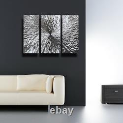 Modern Abstract Metal Wall Sculpture Art Contemporary Painting Home Décor Argent
