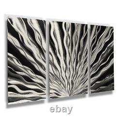 Modern Abstract Sculpture De Mur En Métal Art Peinture Contemporaine Accueil Décor Argent