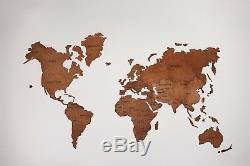 Mur En Bois Planisphère Décor Décoration Intérieure Punaises Carte En Bois Taille XL