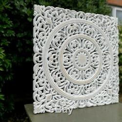 Mur En Bois Sculpté Art 22 Décoratif De Grande Taille Mandala Yoga Chevet Blanc