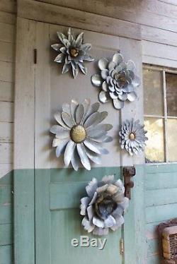 Mur Fleurs Galvanisées En Métal De Décoration Intérieure Art Hanging Intérieur Extérieur Ensemble De 5