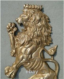 Mur Lion Crest Paire D'art Grand Royal Anglais Européen Peint Or Argent Noir