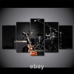 Musique Guitar Drum Instruments 5 Pieces Toile Wall Art Print Picture Home Decor