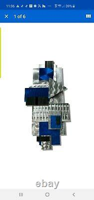 New Modern Sculpture Murale En Métal 3d Grand Décor Bleu Argent Art Signé Jon Allen