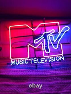 New Music Television Neon Light Sign Lampe 24x20 Real Glass Beer Bar Wall Decor