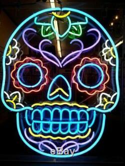 New Neon Sign Light Bar Coloré Skull Beer Pub Cave Man Décor Affichage Du Signe De Mur