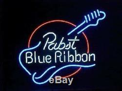 New Pabst Blue Ribbon Guitar Neon Light Sign 17x14 Décorations Beer Bar