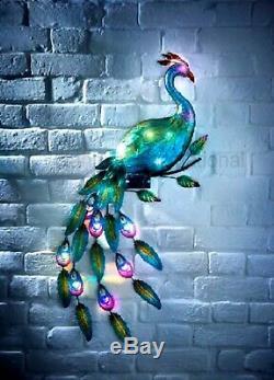 New Solaire Mur Peacock Lumière Art Led Puissance De Jardin En Métal Ornement Décoration
