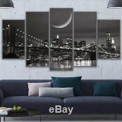 New York City Nuit Pont 5 Pieces Mur D'affiche D'art Image Home Decor