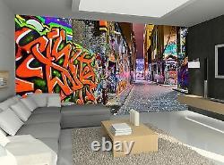Night Graffiti View Wall Mural Photo Wallpaper Giant Wall Decor Paper Poster