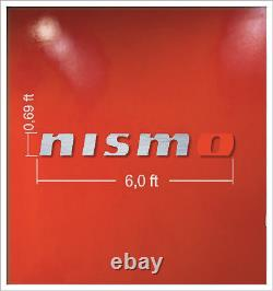 Nismo Letters Colors Sign Garage Brushed Silver Aluminum Gift 6 Ft Wall Décor