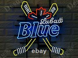 Nouveau Blue Labatt Hockey Sticks Neon Light Sign 24x20 Wall Decor Beer Bar Lampe