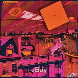 Nouveau + Box Grail Hermes Vintage 70 Faubourg Minuit Soie Foulard Dimitri Batman Cheval