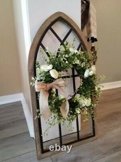 Nouveau Cadre De Fenêtre Cathédrale Avec Wreath/rustic Wall Decor