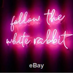 Nouveau Follow The White Rabbit Oeuvre D'art Décorations Acrylique Neon Light Sign 20x10