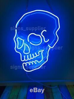 Nouveau Style Crâne Squelette Bleu Néon Cadeau Acrylique Mur Lampe Décor 20