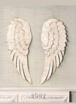 Off White Stunning Metal Angel Wings Wall Decor Set Of 2 New