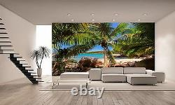 Palm Trees Beach Wall Mural Photo Wallpaper Giant Wall Decor Paper Poster
