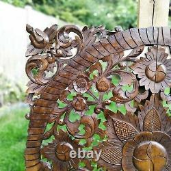 Panneau De Tête De Lit En Bois Décoratif En Bois Sculpté Fait Main 35.5 Grand