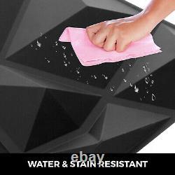Panneaux Muraux Pvc 3d Diamant 13 Carreaux Noirs Plantes Décoratives Waterproof