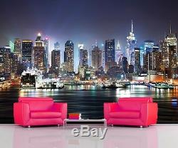Papier Peint Phot Wallpaper Nuit New York Manhattan Skyline Home Decor 335x236cm