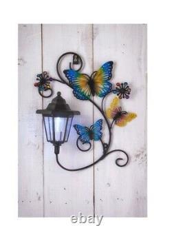 Papillon Solaire D'énergie Avec La Plaque Décorative D'art De Mur De Lumière De Jardin De Led
