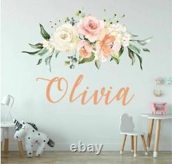 Personnalisé Custom Name Rose Flower Wall Sticker Baby Home Decor Girls Decal