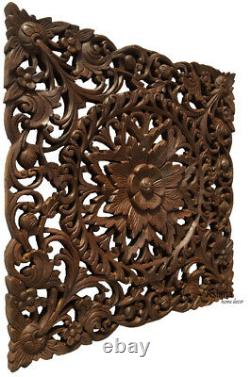 Plaque Asiatique De Décor De Mur En Bois Sculpté. Panneau Floral D'art De Mur De Bois. Brun Foncé 24