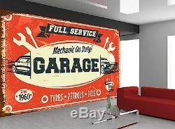 Retro Car Service Garage Old Sign Photo Wallpaper Papier Peint Giant Wall Decor