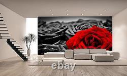 Romantique Rose Rouge Mur Mur Fond D'écran Photo Giant Decor Affiche Papier Pâte Libre