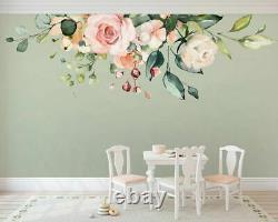 Rose Peach Flower Branch Nursery Wall Sticker Accueil Décor Filles Enfants Art Décal