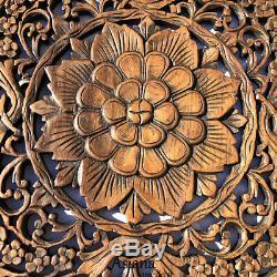 Round Bois Sculpté Floral Wall Art. Décoratif Bois Asiatique Plaque Murale. Brown 24