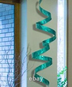 Sculpture Ruban Métallique Sarcelle Moderne 3d Wall Art Sculpture Unique Metal Decor