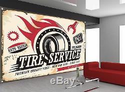 Service De Vintage Car Tyre Sign Garage Peint Photo Papier Peint Giant Wall Decor