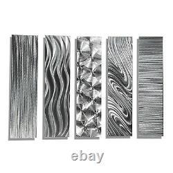 Silver Modern Abstract Large Metal Wall Art 5 Panneau Décor Contemporain Jon Allen
