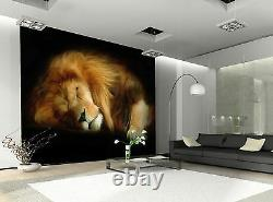 Sleeping Lion Wall Mural Photo Wallpaper Giant Wall Decor Paper Poster