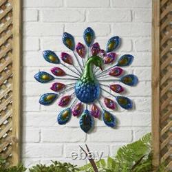 Solar Power Peacock 12 Led Décoratif Jardin Ornement Lumière Mur Plaque D'art