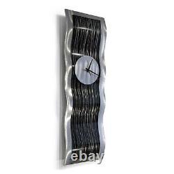 Statements2000 Modern Metal Wall Art Clock Abstract Black Silver Décor Jon Allen