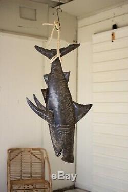 Tenture Shark Décor En Métal Plage Côtière Pêche À Grande 45 Pouces