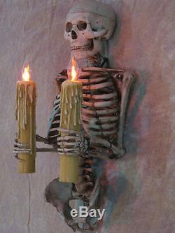 Torse Squelette Wall Sconce Tenant Des Bougies, Crâne, Halloween Prop