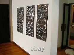 Tropical Floral Bois Sculpté Mur Panneau Décoratif. Brun Foncé 35.5x13.5