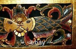 Twin Fish Wall Decor Relief Panel Main Bois Sculpté Architectural Bali Art