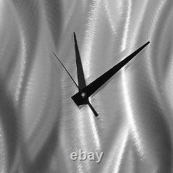 Ultra Modern Wall Clock Silver Abstract Metal Wall Art Clock Decor Par Jon Allen