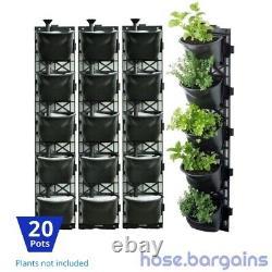 Vertical Garden Kit 20 Pots Green Wall Hanging Planter Box Diy Herb Succulent