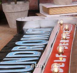 Vintage Led Léger Métal Suspendu Signes Blanchisserie Blanchisserie Boucherie Art Décor Mural