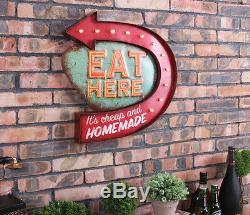 Vintage Led Signes Hanging Métal ICI Eat Cupcake Food Shop Wall Art Décor