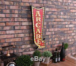 Vintage Led Signes Suspendus En Métal Arcade Flèche Café Pub Bar Wall Art Décor