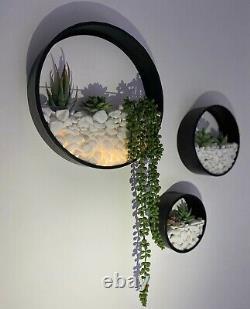 Wall Planters Circular Set Inc Plantes Artificielles Led Lights Pearl White Stones