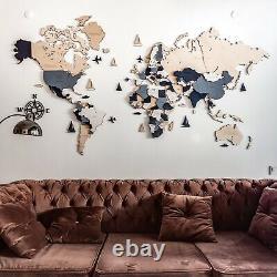 Wall Wooden World Map S Sz (44 X 28) Couleur Blanche Grise Avec Noms De Pays